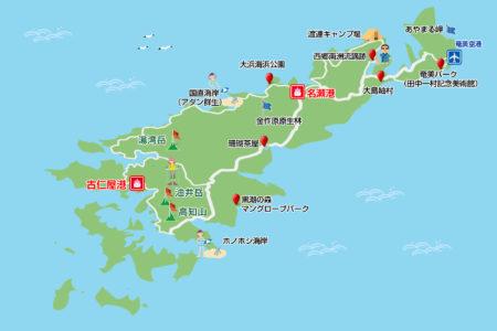 奄美大島観光スポットマップ