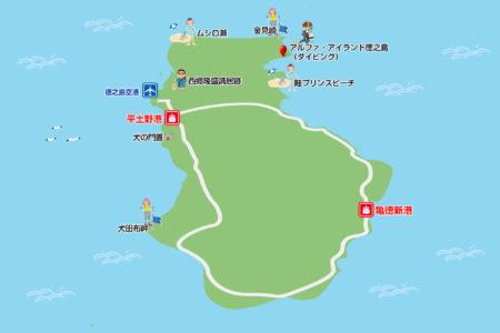 徳之島観光スポットマップ