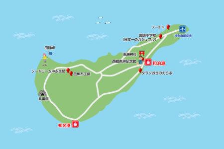沖永良部島観光スポットマップ